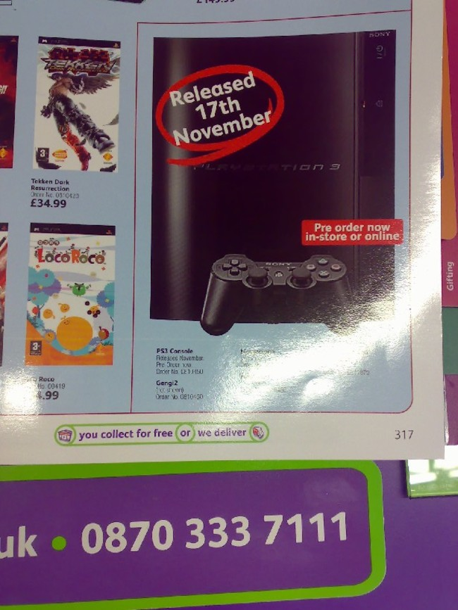 UK Store Still Think PS3 is coming out November 17th | RPG Site