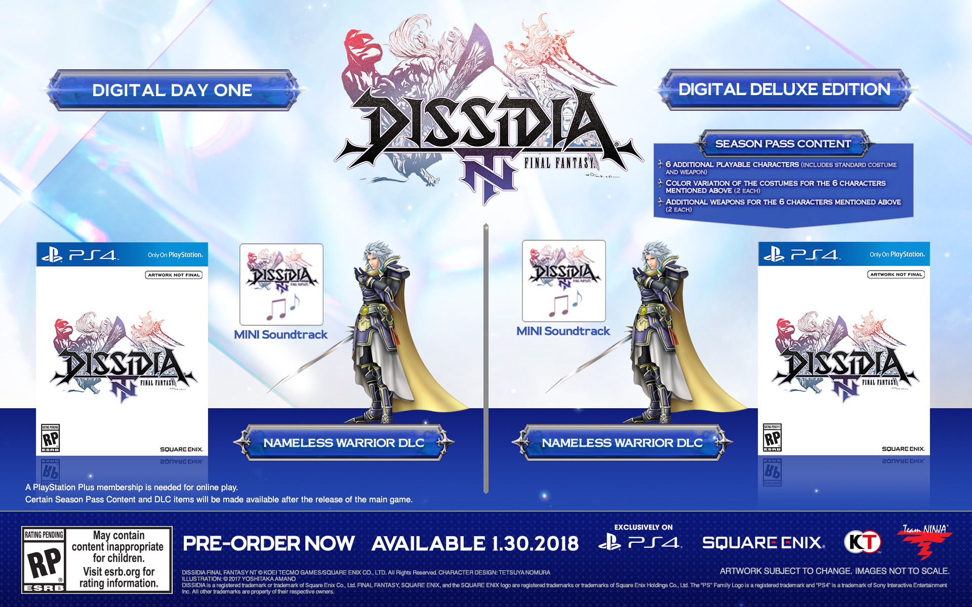 Dissidia: Final Fantasy NT Launching in January; Special Editions Detailed